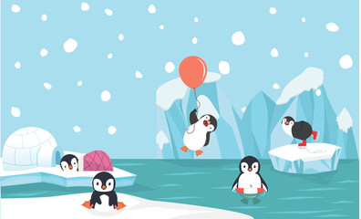 Cute penguin characters  set with North pole  background