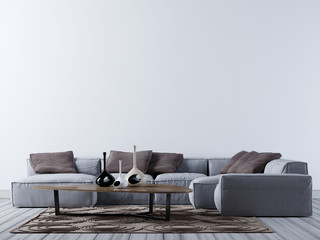 Empty wall on the contemporary living room with corner sofa