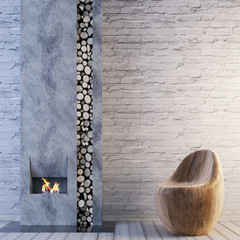 Living room with fireplace interior and brick empty wall for mockup background.