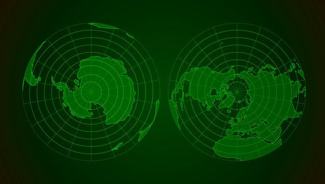 Arctic and antarctic poles globe hemispheres in military radar style display