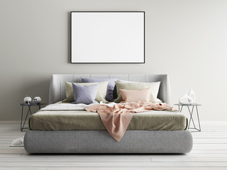 Mock up beige wall bedroom interior. Scandinavian style interior.