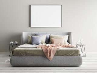 Mock up beige wall bedroom interior. Scandinavian style interior.
