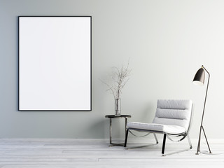 Mock up poster, Scandinavian design interior