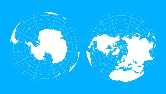 Arctic and antarctic poles globe hemispheres. World map in blueprint style