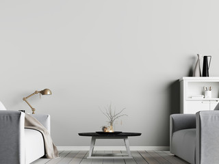 mock up poster on the wall in interior with emty wall background with armchair, scandinavian style