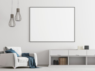 Mock up poster in the white interior with white furniture a modern style.