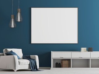 Mock up poster in the blue interior with white furniture a modern style.