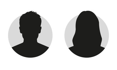 Male and female face silhouette or icon. Man and woman avatar profile. Unknown or anonymous person. Vector illustration.