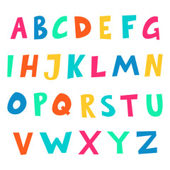 Cartoon alphabet. Hand drawn font. ABC letters for kids or child design. Vector illustration.