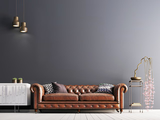 empty wall in classical style interior with leather sofa on grey background wall.