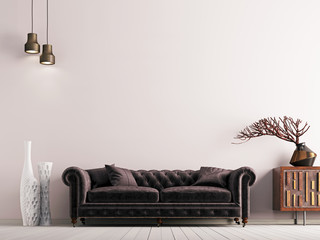 empty wall in classical style interior with brown sofa on grey background wall.