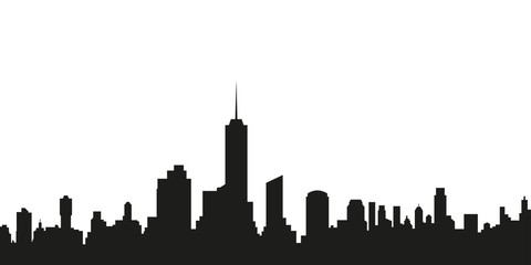 City silhouette. City skyline with buildings. Vector illustration.