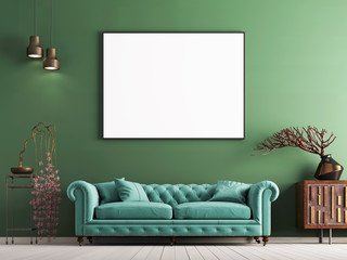 mock up poster on green wall in interior classical style with light mint sofa, and decor.