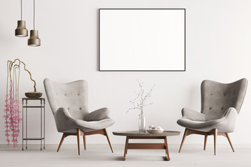 Mock up poster in pastel interior classic style with soft armchairs, plant and lamps.
