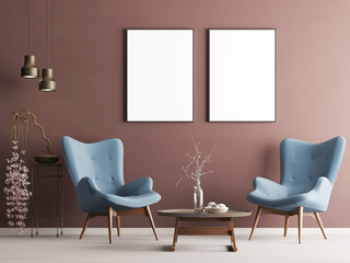Mock up poster in pastel modern interior with burgundy wall, soft armchairs, plant and lamps.