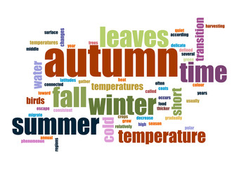 Autumn. Collage of words Vector illustration