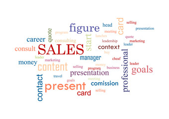 Sales. Collage of words Vector illustration