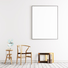 Living room interior wall mock up on white background