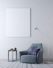 mock up poster frame in hipster interior background, Scandinavian style