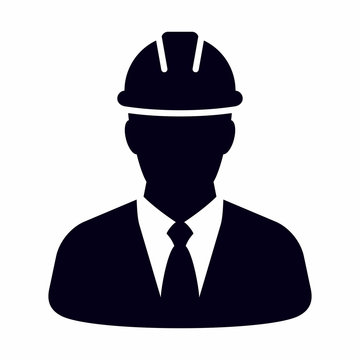 Engineering, construction project manager vector icon