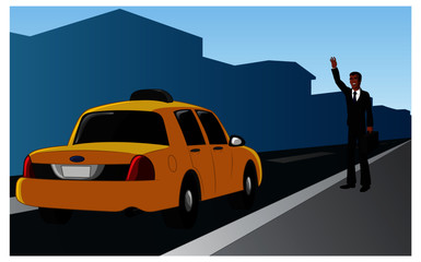 Vector illustration of a successful black businessman hailing a taxi.