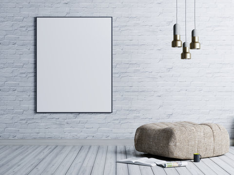 Mock up poster in a brick wall background in a loft style living room with beige fabric ottoman, stainless lamp and magazine.