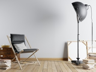 Empty wall in the urban interior with an armchair and a black big lamp and books
