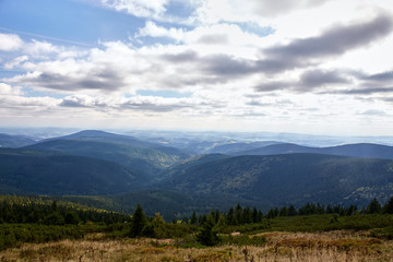 view from mountains in National Park Krkonose