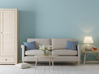 Empty wall for mockup in interior background, Scandinavian style with sofa and cabinet.
