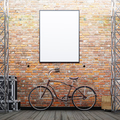 Mock up poster frame on the brick wall with a bike and decor on a urban exterior.