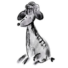 Black lovely poodle sketch. Graphic illustration with cute curly dog for posters, prints, covers, surface, notebook, design, banners