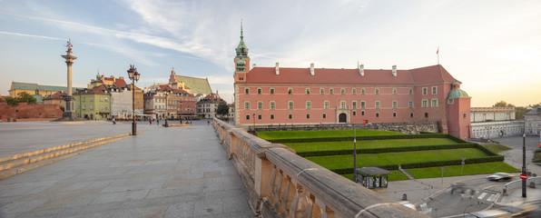 Stare Miasto w Warszawie, Syrenka Warszawska, Panoramo, świt, kamienice, Zamek Królewski, Koluna Zygmunta