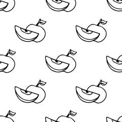 Hand drawn autumn seamless pattern. Apple harvest in autumn, vector illustration