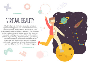 Excited man in virtual reality exploring space.