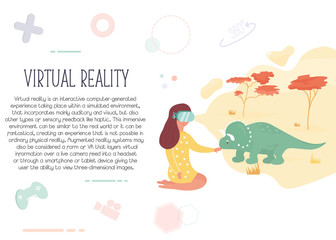 Girl in virtual reality meeting dinosaur.