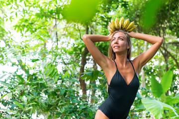crown banana goddess beauty woman tropical jungle