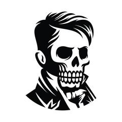 illustration victorian skull face hairstyle illustration