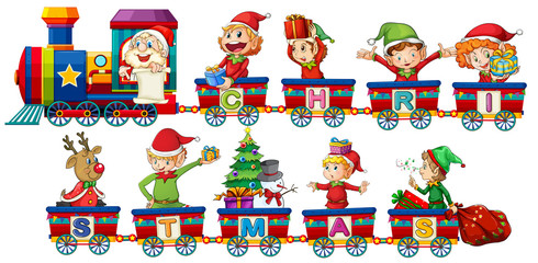 Christmas train on white background
