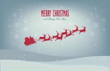 santa sleigh reindeer flying red silhouette merry christmas