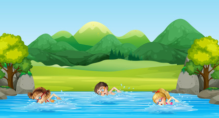 Children swimming in the river
