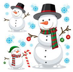 Aluminium Prints Kids different snowman on white template