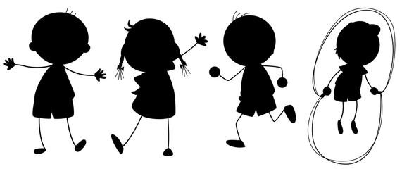 A set of silhouette children
