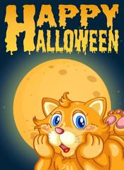 Cat on halloween card template