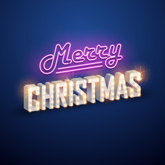 Christmas background. Retro Christmas light sign. Vector illustration.