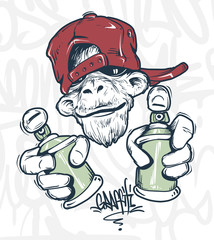 Monkey in cap holding a spray paint, vector print design for t-shirt