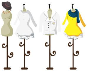 Female tailor dummy on white background