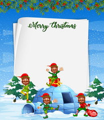 Christmas elf on blank paper template