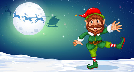 Christmas elf dancing in the snow