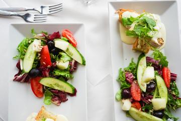 Open Chicken Sandwich on White table cloth