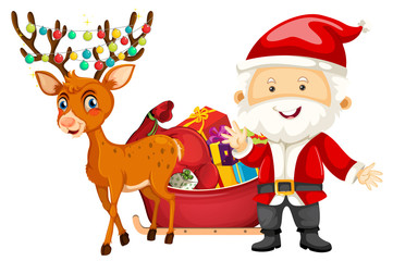 Santa and deer on white background
